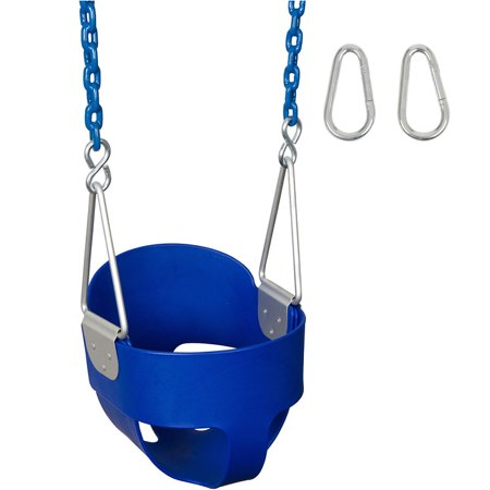 Swing Set Stuff Inc. Highback Full Bucket with 5.5 Ft. Coated Chains (Blue)