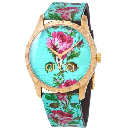 Gucci G-Timeless Aqua Floral Print Dial Ladies Leather Watch YA1264085