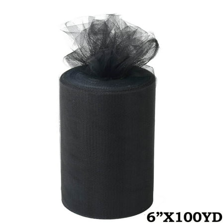"""6"""" x 300 feet Wedding Tulle Roll For Crafting Favors Decor - Black"""