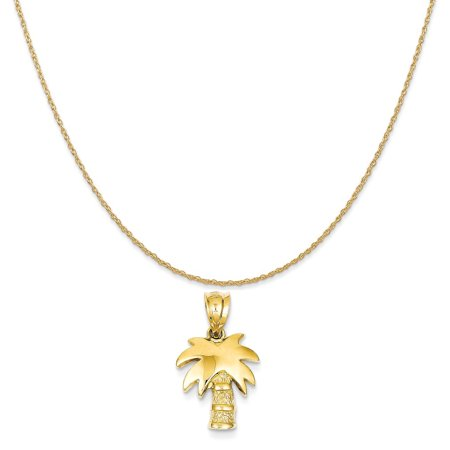 14k Yellow Gold Palm Tree Charm on a 14K Yellow Gold Rope Chain Necklace, 20""