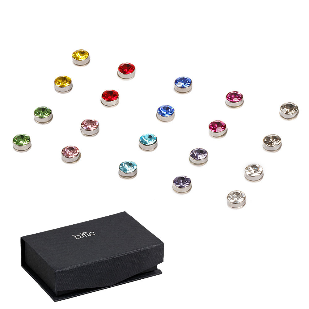 BMC 10pc Multicolor Fashion Crystal Round Magnetic Clip On Stud Earring Set