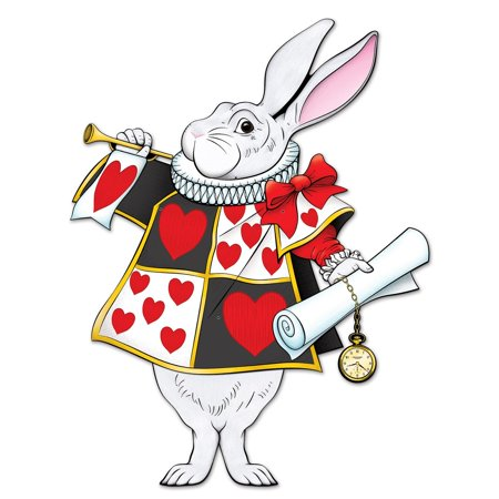 """Club Pack of 12 Alice in Wonderland Queen of Hearts Jointed White Rabbit 30"""""""