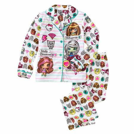Monster High Pajamas (Girls White Flannel Monster High Pajamas Draculara & Clawdeen Wolf Sleep)