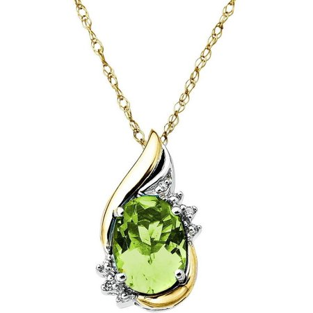 Sterling Silver with 10kt Yellow Gold Oval Peridot and Diamond Accent Pendant Necklace