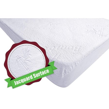 iLuvBamboo Crib Mattress Pad Protector - Waterproof Cover - Soft Natural Bamboo Jacquard Fitted Topper - Noiseless, Breathable & Hypoallergenic ?? Best Baby Gifts for Potty Training Toddlers &