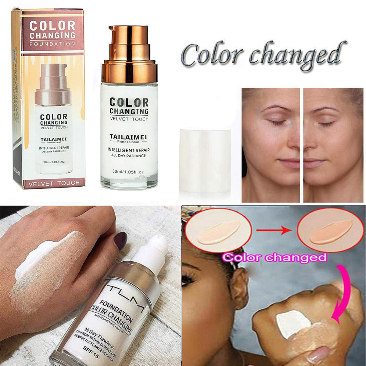 TLM 30ML Magic Color Changing Liquid Foundation Makeup
