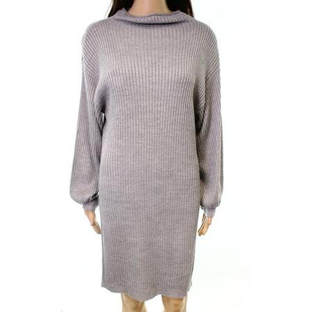 RDI NEW Gray Womens Size XL Ribbed Knit Dolman Sleeve Sweater Dress