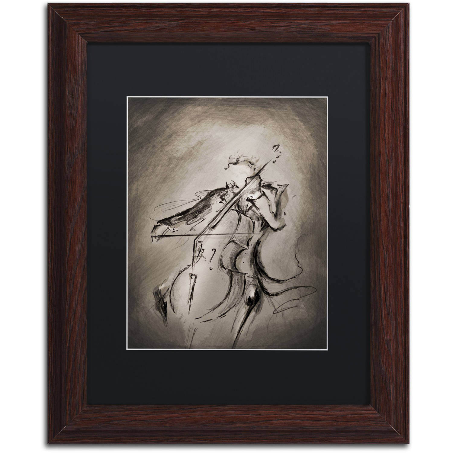 Trademark Fine Art 'The Cellist' Canvas Art by Marc Allante, Black Matte, Wood Frame