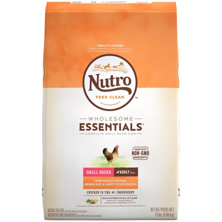 NUTRO WHOLESOME ESSENTIALS Small Breed Adult Dry Dog Food Farm-Raised Chicken, Brown Rice and Sweet Potato Recipe, 15 lb. Bag ()