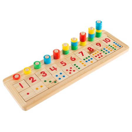 Montessori Math Sorter- Wooden Board with Pegs, Number Blocks, Colorful Stacking Rings-Preschool Educational STEM Counting Game for Kids by Hey! - Math Games 2