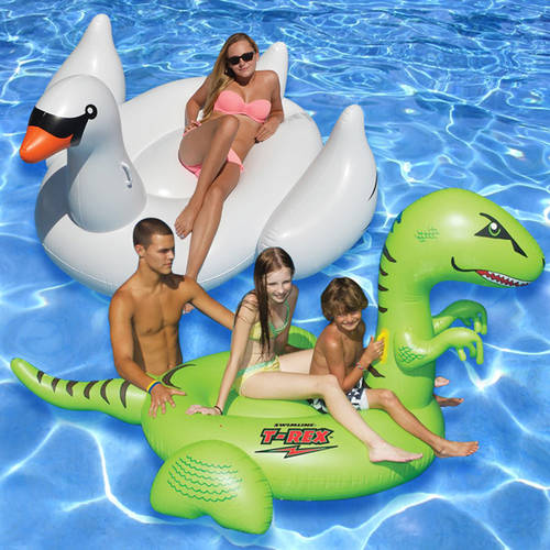 Swimline Ride-On Floats, White Swan and T-Rex