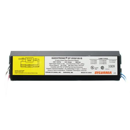 Sylvania QT2x32/120-IS Fluorescent Ballast, 2-Lamp, F32T8, 32W T8, 120V