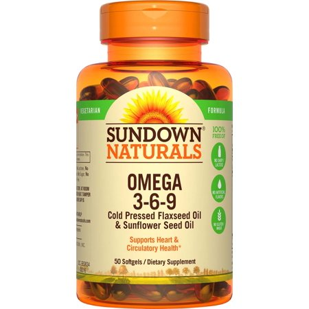 Sundown Naturals Omega 3-6-9 Cold Pressed Flaxseed & Sunflower Seed Oil Softgels, 50 (Omega 3 6 9 Fatty Acids Supplements)