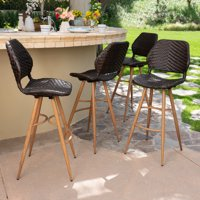 Lawrence Outdoor Wicker Barstools with wood finish metal legs, Brown