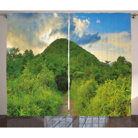 Nature Curtains 2 Panels Set  Mountain Path Covered By Trees Foliage Bushes Highland Woodland Landscape  Window Drapes For Living Room Bedroom  108W X 96L Inches  Fern Green Sky Blue  By Ambesonne