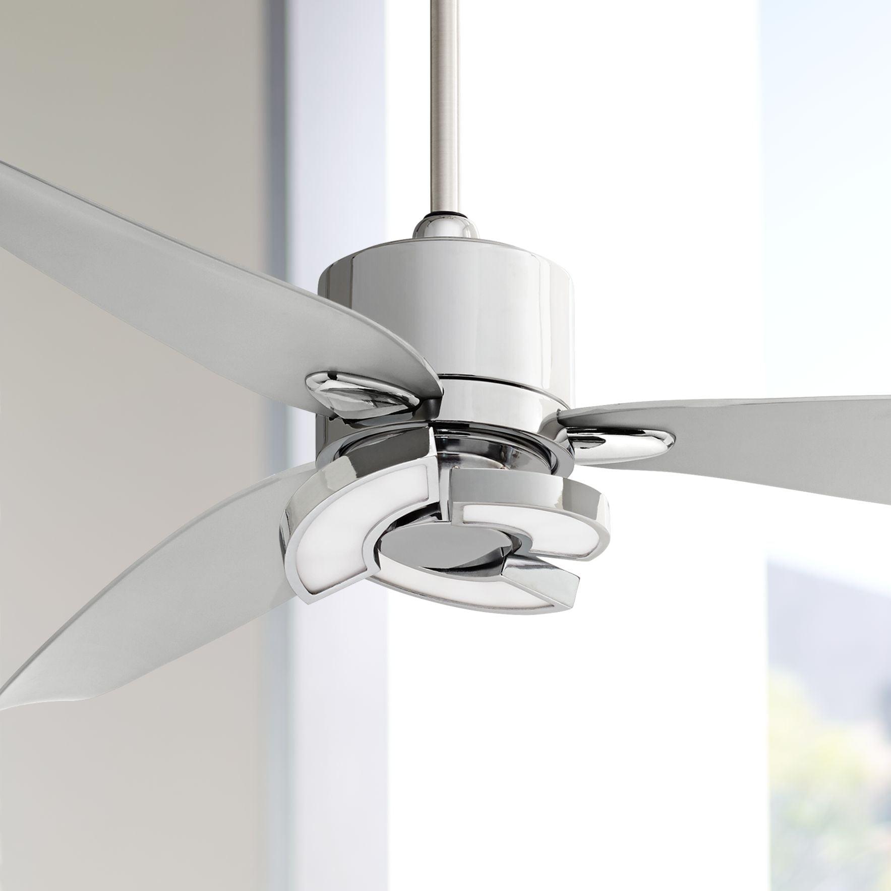 56 Possini Euro Design Modern Ceiling Fan With Light Led Remote Control Chrome Curved Blades For Living Room Kitchen Bedroom Walmart Com Walmart Com