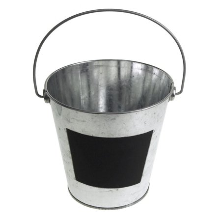 Galvanized Metal Bucket with Chalkboard Label, 5-1/2-Inch, (Chalk Bucket)