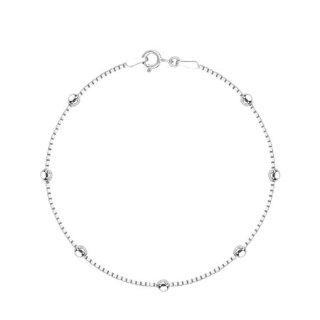 Beads Silver Chain Bracelet - Sterling Silver Box Chain Diamond-Cut Station Bead Italian Link Bracelet