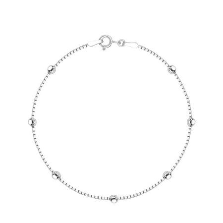 Sterling Silver Box Chain Diamond-Cut Station Bead Italian Link Bracelet