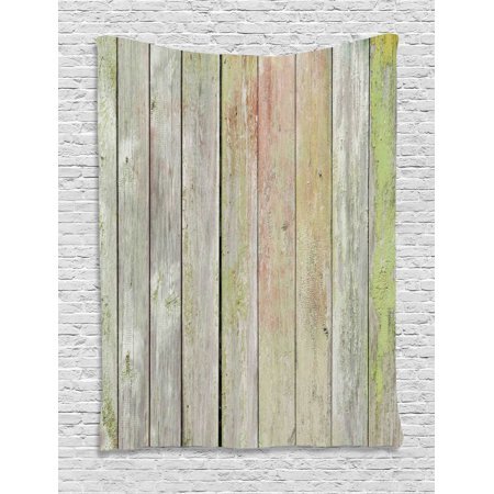 Fence Tapestry, Old Painted Hardwood Planks Vintage Weathered Grunge Toned Garden Background, Wall Hanging for Bedroom Living Room Dorm Decor, Pale Sage Green, by Ambesonne ()