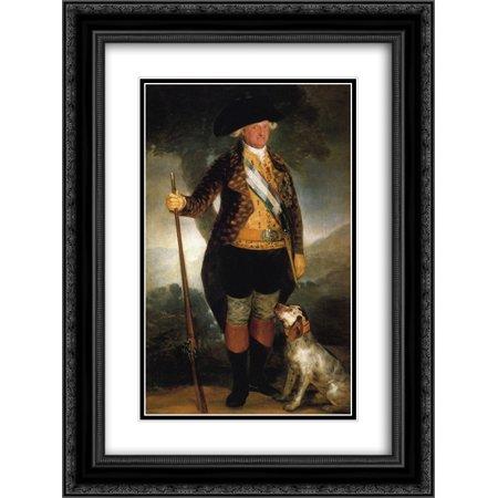 Francisco Goya 2x Matted 18x24 Black Ornate Framed Art Print 'King Carlos IV in Hunting Costume' - Hunting Costume