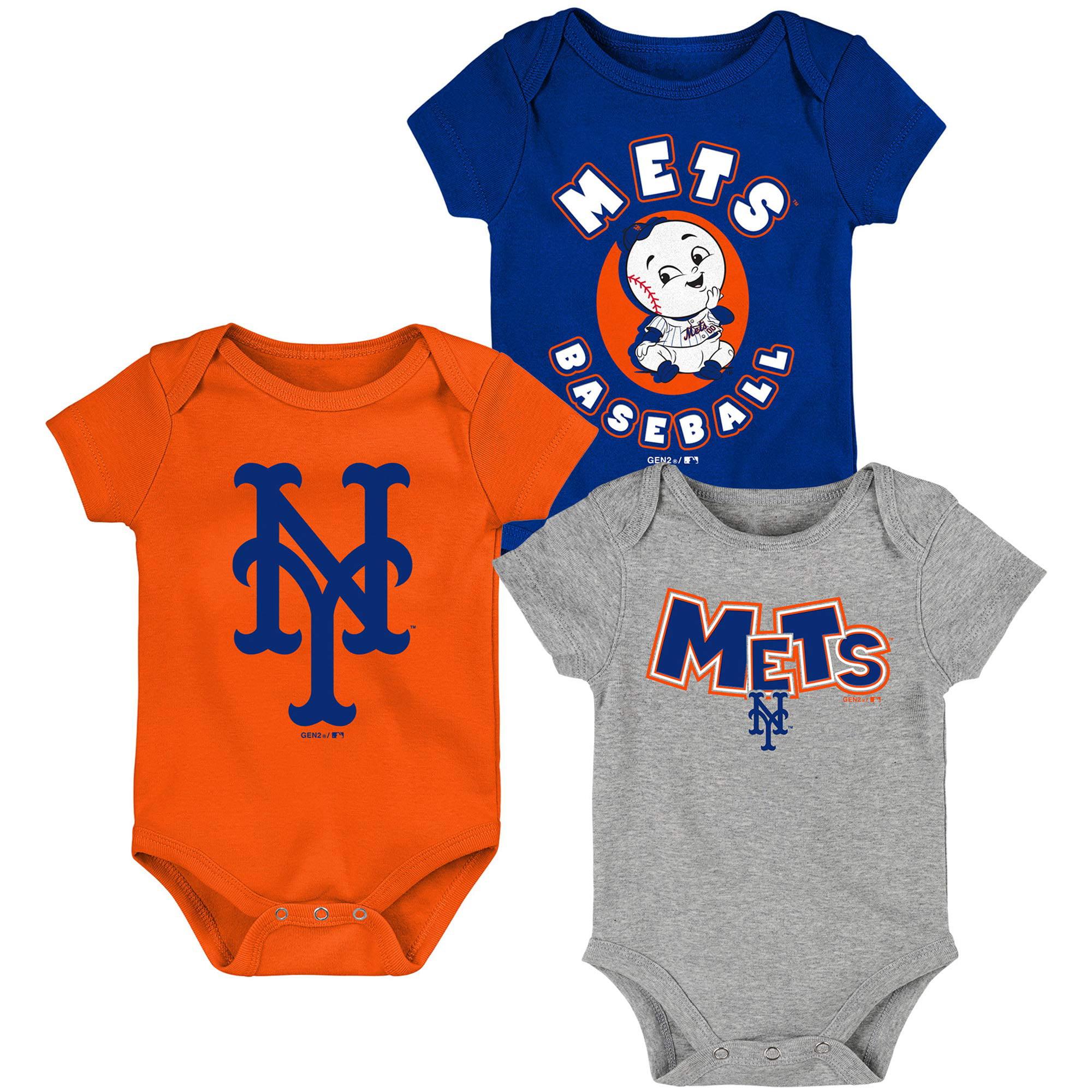 New York Mets Newborn & Infant Everyday Fan Three-Pack Bodysuit Set - Royal/Orange/Heathered Gray