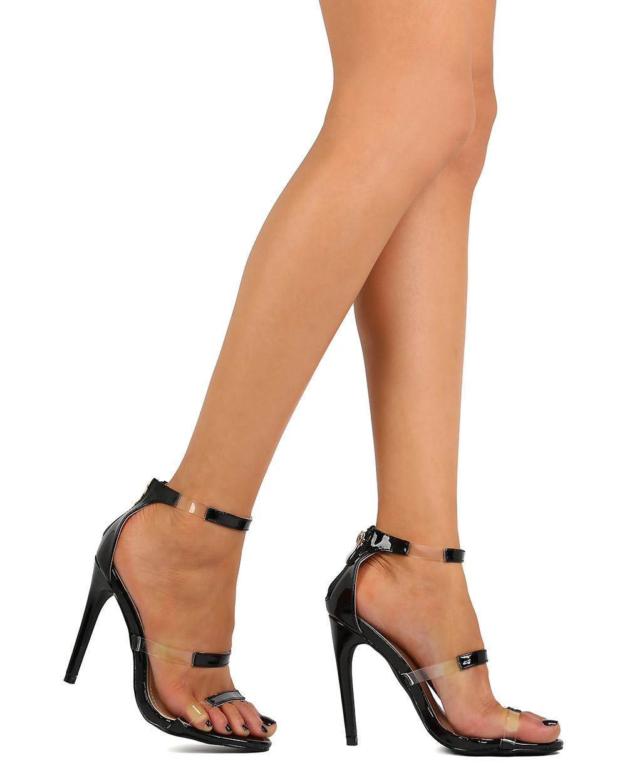 70cc513376f9 Liliana - Liliana FK38 Women Leatherette Open Toe Lucite Instep ...