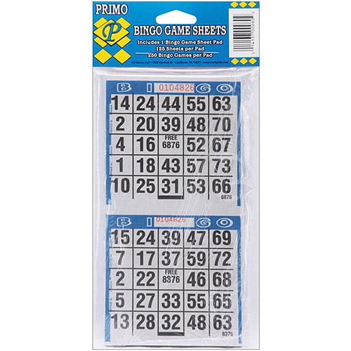 """Dab'n Stic Bingo Game Sheets, 4"""" x 8"""", 125/pkg"""