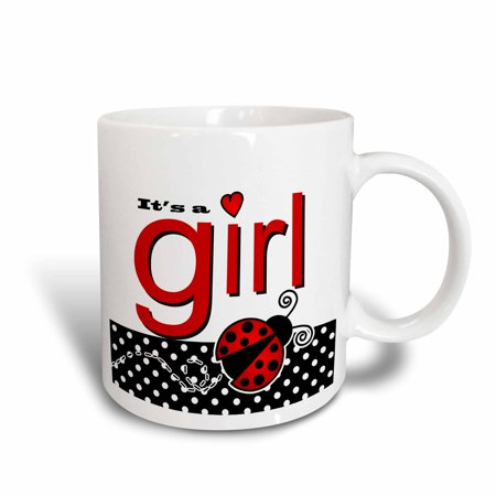 3dRose Its a Girl - Cute Red Ladybug Black and White Polka Dots, Ceramic Mug, 15-ounce