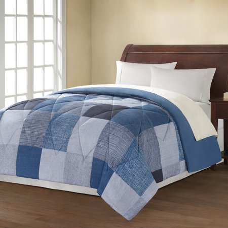Mainstays Denim Printed Bedding Comforte Walmart Com