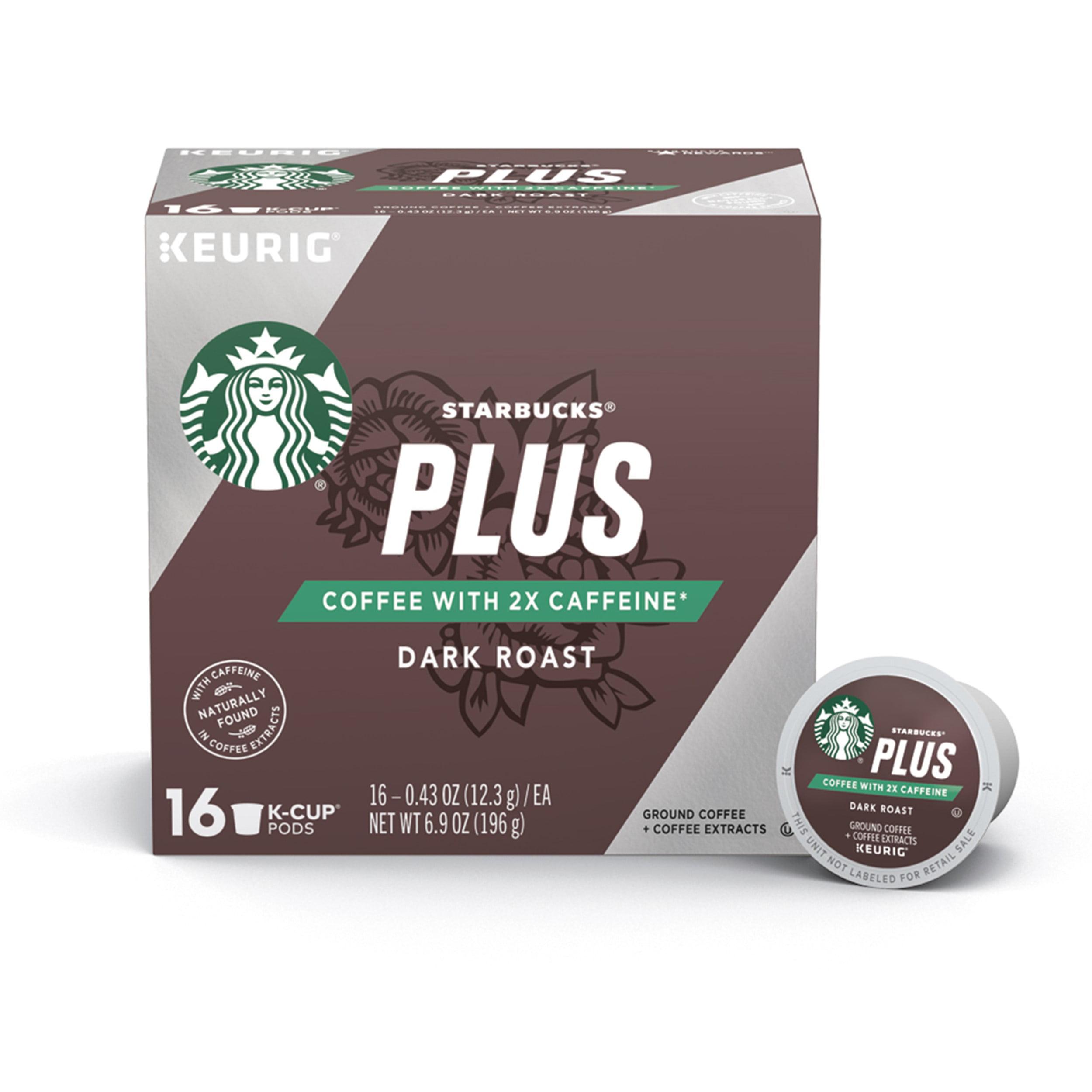 01c95b6a97f Starbucks Plus Coffee 2X Caffeine Dark Roast Single Cup Coffee for Keurig  Brewers, One Box of 16 (16 Total K-Cup Pods) - Walmart.com