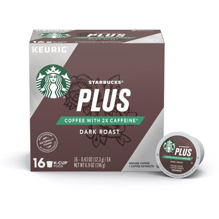 Starbucks Plus Coffee 2X Caffeine Dark Roast Single Cup Coffee for Keurig Brewers, One Box of 16 (16 Total K-Cup