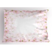 Floral Pillow Sham Romantic Apple Flower Petals Blooms Nature Essence Beauty Bouquet Image, Decorative Standard Size Printed Pillowcase, 26 X 20 Inches, Baby Pink Lime Green, by Ambesonne