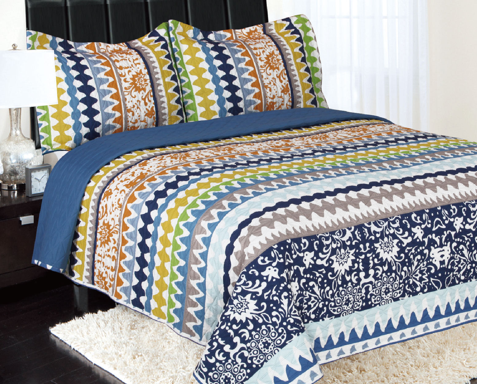 Click here to buy 3-Piece Reversible Quilted Printed Bedspread Coverlet Blue Orange Green yellow Waves Queen....