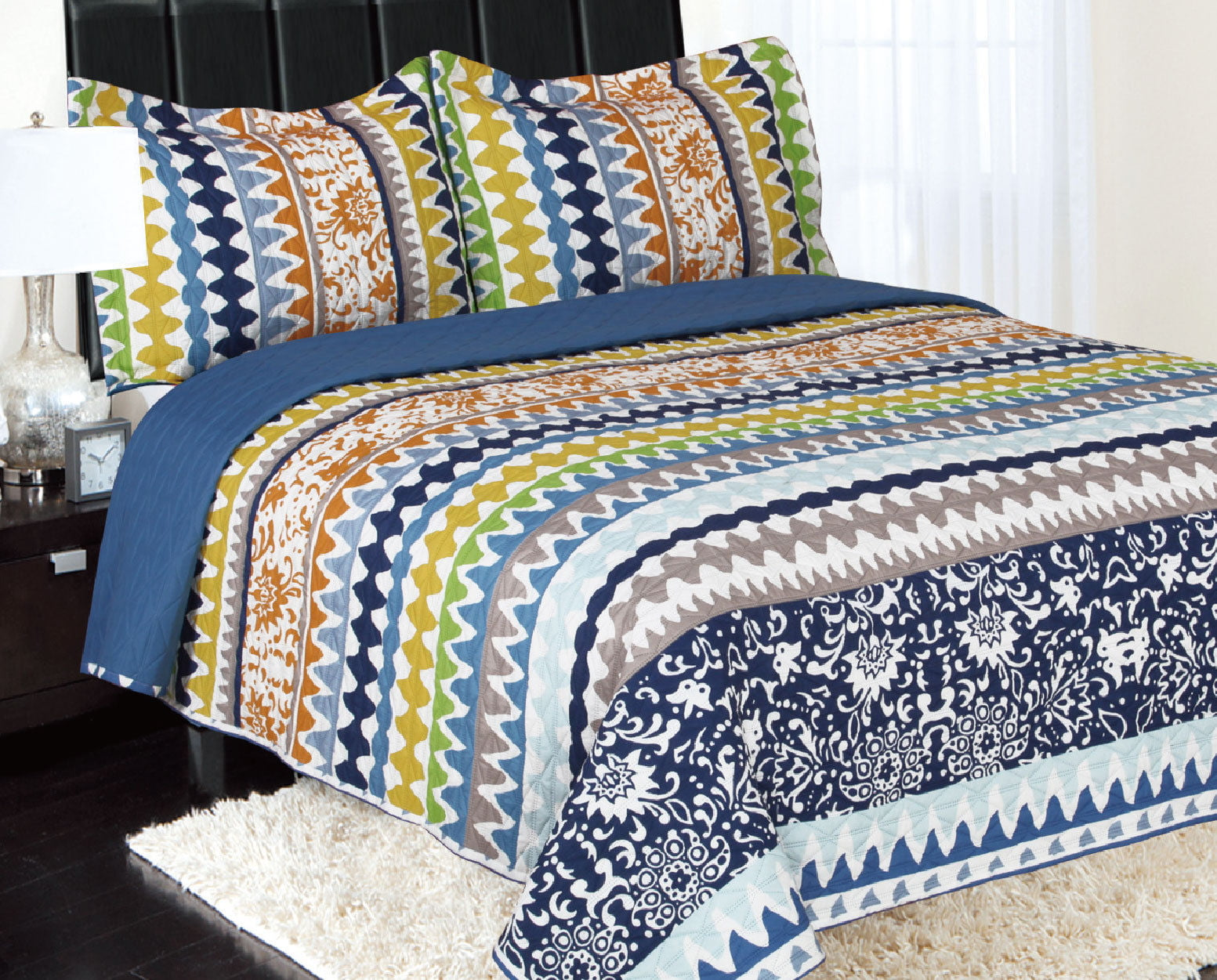 3-Piece Reversible Quilted Printed Bedspread Coverlet Blue Orange Green yellow Waves Queen... by