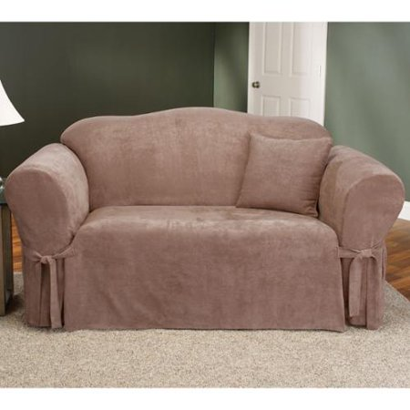 Sure fit smooth suede washable sofa slipcover walmartcom for Washable couch cover