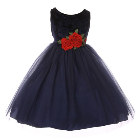 Kids Dream Little Girls Navy Floral Velvet Rose Tulle Christmas Dress - Kids Christmas Dresses