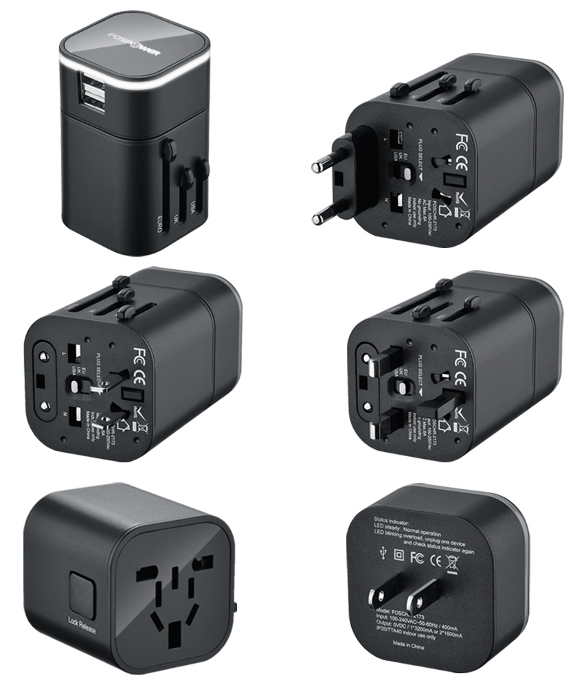 FosPower B3 WorldWide Universal International Travel Adapter with Dual 3.2A USB Charging Ports US UK EU AU Adapter by FOSCHR-2173