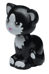 Animal Minifig LEGO Cat Sitting Black with Green Eyes /& Pink Nose