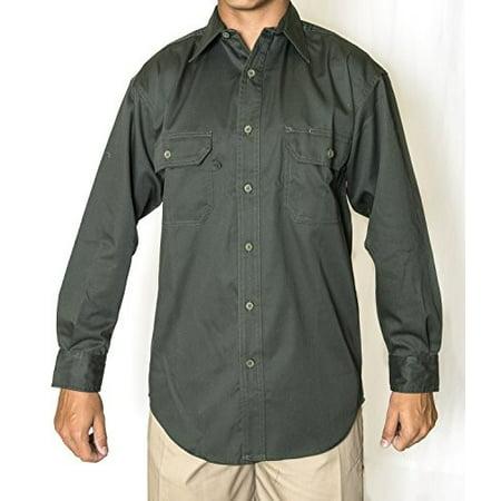 Uniform Work Shorts (Olive Green Men's Long Sleeve Uniform Work Shirt, 65% Poly 35% Cotton Twil )