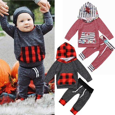 2Pcs Newborn Baby Toddler Boys Girls Hooded Tops Pants Outfits Set Clothes 0-5Y