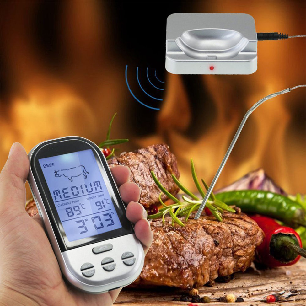 Wireless LCD Digital Remote BBQ Grill Thermometer Silver Household Kitchen Cooking Food Tools Timer Temperature Alarm