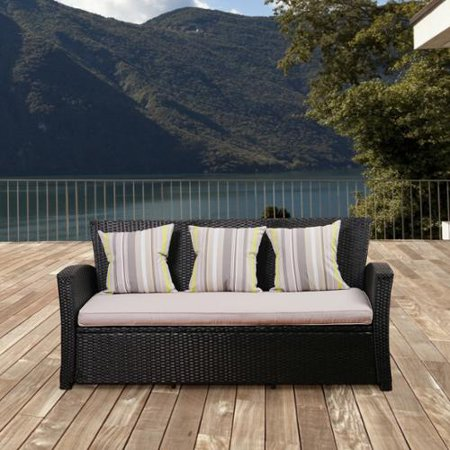 Atlantic  Glacier Black Synthetic Wicker 3 Seater Sofa With Light Grey Cushions