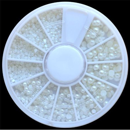 Outtop White Pearl Nail Art Stone Different Size Wheel Rhinestones Beads (Beats Nails)