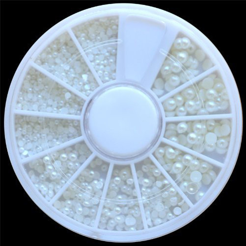 Outtop White Pearl Nail Art Stone Different Size Wheel Rhinestones Beads