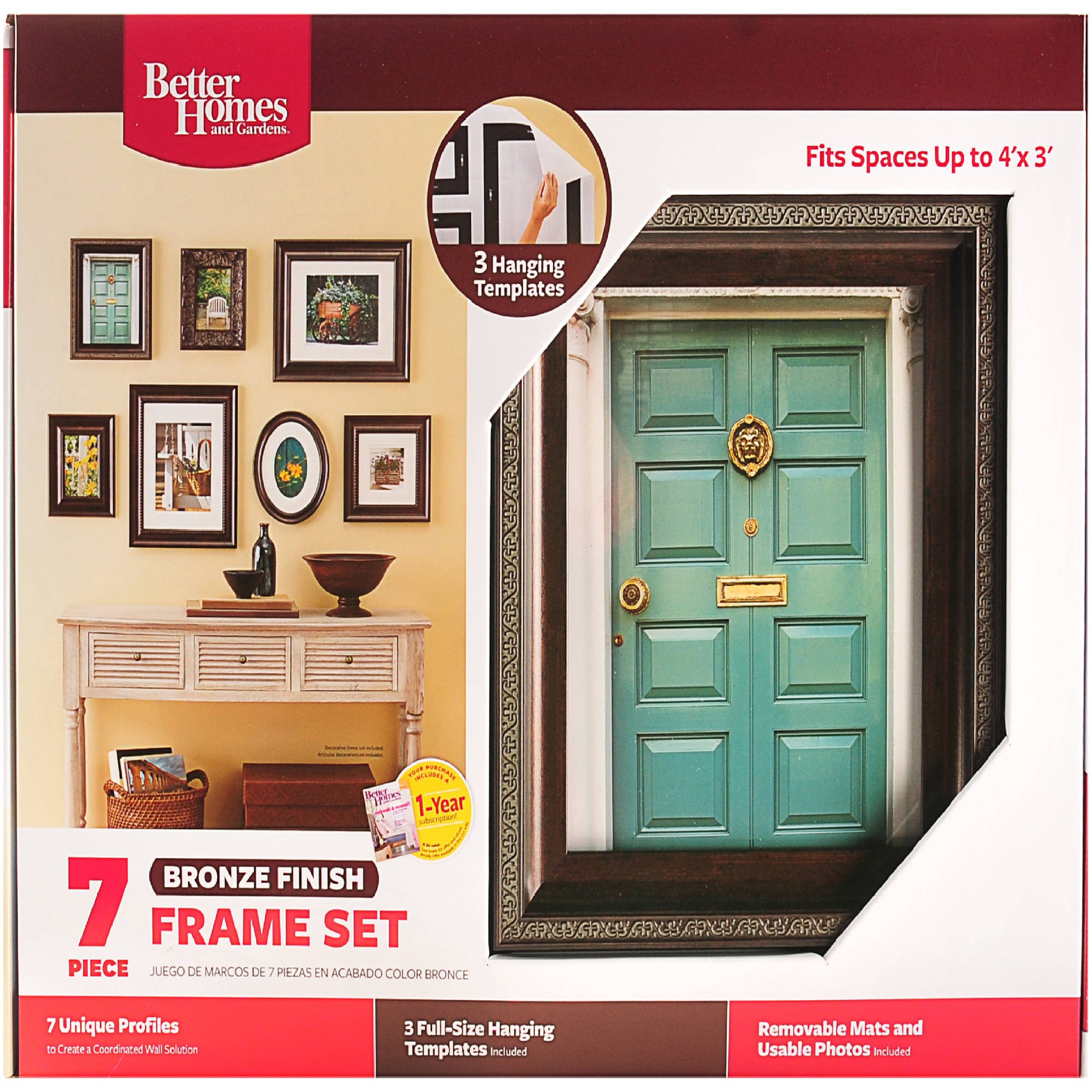 Wall Picture Frame Set better homes bronze 7-piece wall frame set - walmart