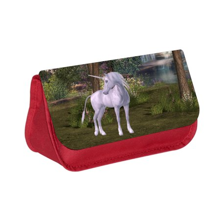 Unicorn in a Blossoming Forest - Red Cosmetic Case - Makeup Bag - with 2 Zippered Pockets - Unicorn In Forest