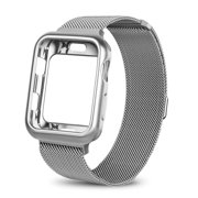For Apple Watch Band with Case 38mm, Stainless Steel Mesh Milanese Loop with Adjustable Magnetic Closure Replacement Wristband iWatch Band for Apple Watch Series 3 2 1 - Silver
