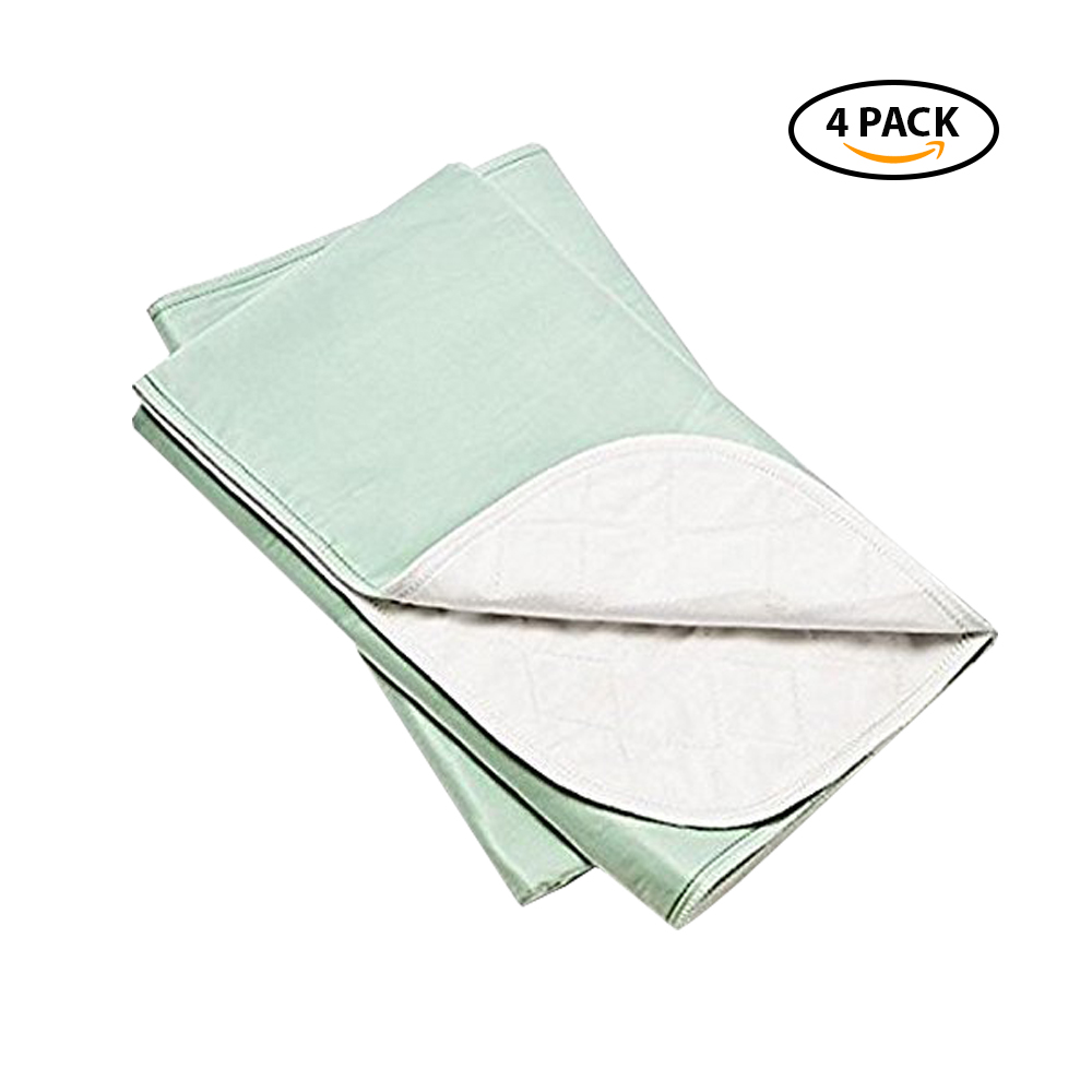 Platinum Care Pads Standard Washable Underpad Reusable, 34x36 in, Pack/4 (Green) for use with incontinence, reusable pet pads, reusable bed pads, great for dogs, cats, and bunny
