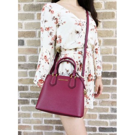 2814ce758e10 Michael Kors Adele Medium Messenger Bag Mulberry Burgundy Ballet Pink  Satchel - Walmart.com